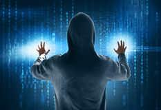 Hacker stealing data. On touchscreen Stock Image