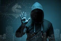 The hacker stealing dollars from bank. Hacker stealing dollars from bank Royalty Free Stock Photos