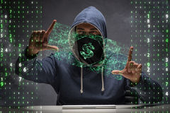 The hacker stealing dollars from bank Royalty Free Stock Images