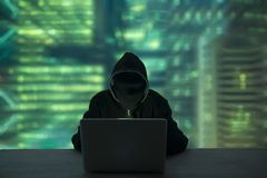 Hacker stealing password and identity, computer crime.  royalty free stock images