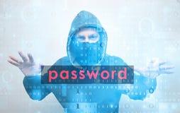 Hacker stealing password Royalty Free Stock Photo