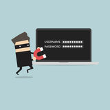 Hacker stealing passwords Stock Photography