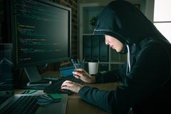 Hacker stealing personal identity credit card. Evil pretty women hacker stealing personal identity credit card information and using account making trading stock image