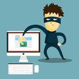 Hacker steals the document from your computer. The swindler steals data from computer. Computer hacker hacking robbery secret data Royalty Free Stock Photography