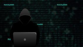 Hacker stiehlt digitale Passwörter stock video footage