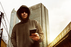 Hacker on the street Royalty Free Stock Image