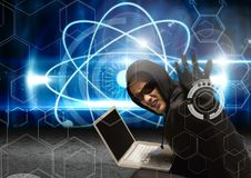 Hacker with sunglasses using a laptop and tending his arm to the lens with a digital background Royalty Free Stock Images