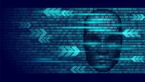 Hacker sztucznej inteligenci robota niebezpieczeństwa ciemna twarz Cyborga binarnego kodu głowy cienia kilofa ostrzeżenia ogłosze Zdjęcia Stock