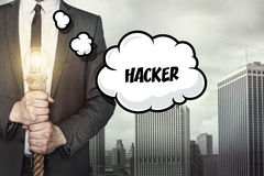 Hacker text on speech bubble with businessman Royalty Free Stock Image
