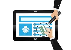Hacker theft hand holding a credit card fraud with Magnifying glass for online paying shop. illustration business cyber crime conc. Hacker theft hand holding a stock illustration