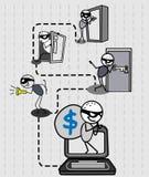 Hacker thief money  Stock Photography