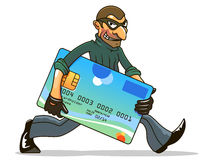 Hacker or thief stealing credit Royalty Free Stock Image