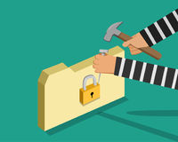 Hacker trying to unlock folder, vector Royalty Free Stock Photo