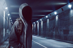 Hacker in the tunnel Royalty Free Stock Images