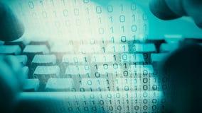 Hacker typing on computer keyboard virus code, cyber attack plan stock illustration