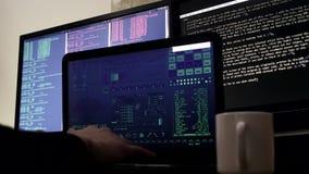 Hacker typing on keyboard stock video