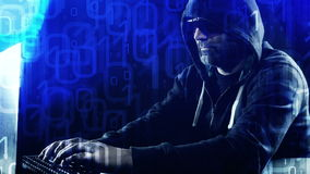Hacker typing on laptop keyboard motion binary code background. Business concept, shot in RAW 4k stock video footage