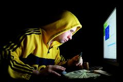 The hacker under work royalty free stock images