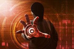 Hacker unlock data. On computer Stock Image