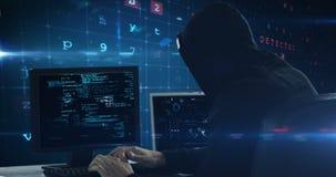 Hacker using computer. Against digital screen stock video