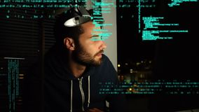 Hacker using a computer and program codes. Digital composite of a Caucasian hacker looking around while using a computer while program codes move in the screen stock video