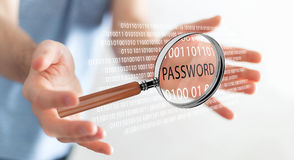 Hacker using digital magnifying glass to find password 3D render Royalty Free Stock Photography