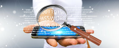 Hacker using digital magnifying glass to find password 3D render. Hacker on blurred background using digital magnifying glass to find password 3D rendering Royalty Free Stock Image