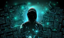Hacker using the Internet hacked abstract computer server, database, network storage, firewall, theft of data