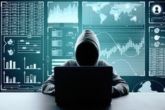 Malware and finance concept. Hacker using laptop on binary code background with digital business interface. Malware and finance concept. Double exposure stock image