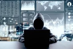 Malware and trade concept. Hacker using laptop on blurry night city background with digital business interface. Malware and trade concept. Multiexposure royalty free stock photography
