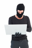 Hacker using laptop to steal identity Royalty Free Stock Photos