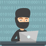 Hacker using laptop to steal information. Stock Photography