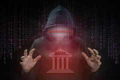Hacker using ransomware for attack bank system Stock Photography
