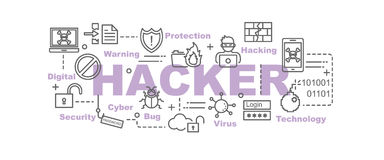 Hacker vector banner. Design concept, flat style with thin line art security icons on white background Royalty Free Stock Photo