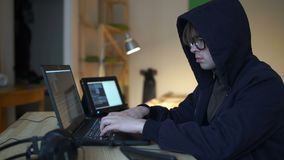 Hacker virus attack with laptop