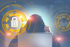 Hacker w mieście, cyber ochrony kłódki interfejs royalty ilustracja