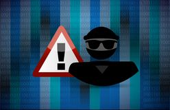Hacker warning. security warning concept Royalty Free Stock Photography