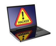 Hacker warning sign on laptop screen. Stock Photo