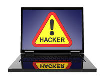 Hacker warning sign on laptop screen. Royalty Free Stock Image