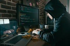 Hacker wiele przez dane wirusa mieć bitcoin Obraz Royalty Free