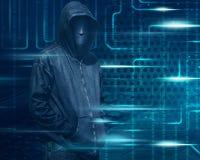 Hacker With Mask On Dark Green Digital Screen