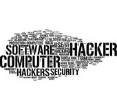 Hacker word cloud Stock Photos