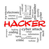 Hacker Word Cloud Concept in red caps. With great terms such as firewall, cyber, attack, crime and more Stock Images