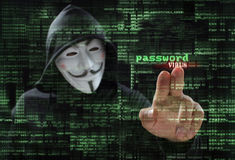 Hacker at work stock images