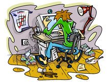 Hacker working on computer in jumble room Stock Photo
