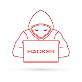 Hacker working on laptop Stock Images