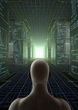 Hacker World. Render of a virtual world with a man between giant cubes with assembly language Stock Photos