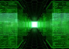 Hacker World Revolution. 3d generated abstract background with a hex pattern floor  an a lot of cubes with green assembly text Royalty Free Stock Photos