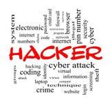 Hacker-Wort-Wolken-Konzept in den roten Kappen Stockbilder