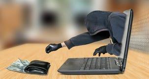Hacker - złodziej kraść pieniądze od laptopu zdjęcia royalty free